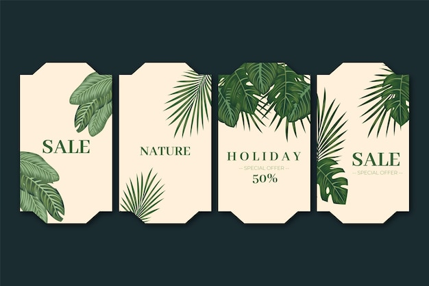 Двухцветный подарочный ярлык с экзотическими растениями