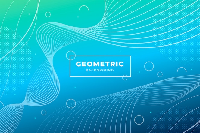 Duotone gradient background with geometric shapes