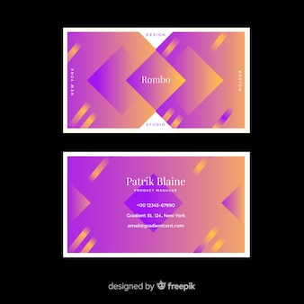 Duotone gradient models business card