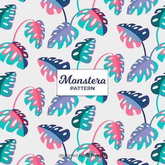 Duotone monstera leaves background