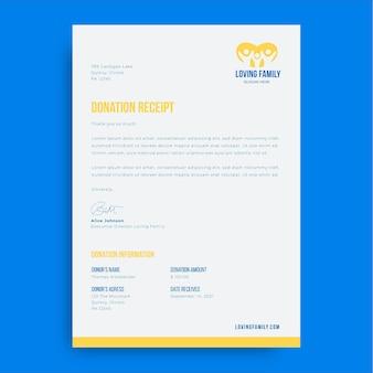 Lettere senza scopo di lucro ricevuta di donazione semplice bicromia