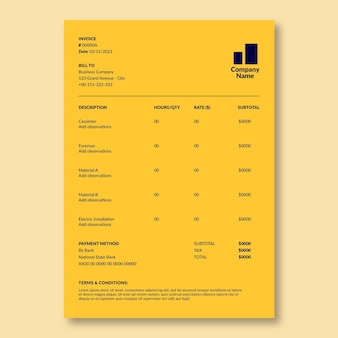 Duotone simple wanda's electricity services construction invoice