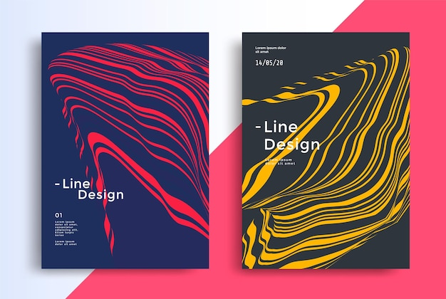 Duotone wavy line compositions red and blue fluid wave striped flow background design for cover