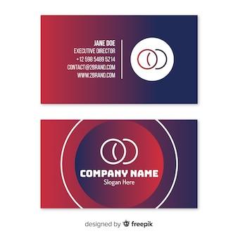 Визитная карточка duotone с шаблоном градиентных фигур