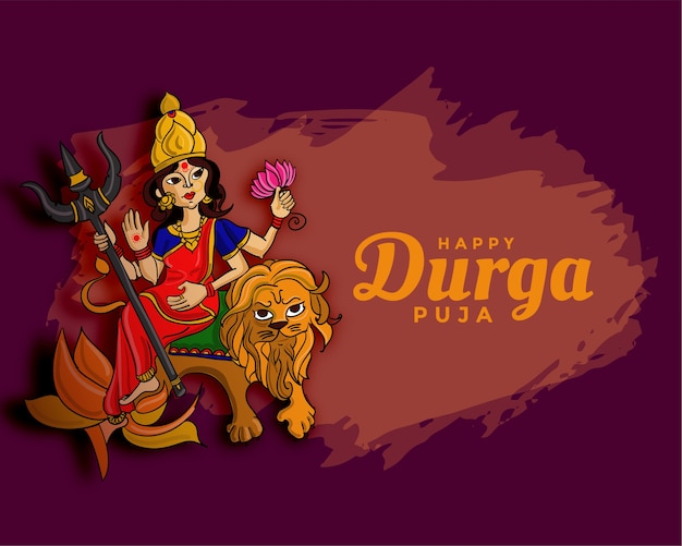 Durga pooja navratri festival wishes card design