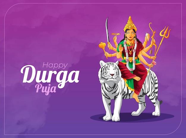 Durga puja celebration banner and greeting card