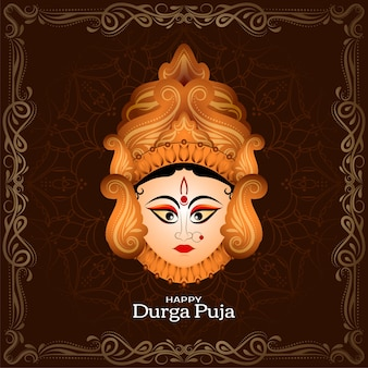 Durga puja indian festival decorative frame background