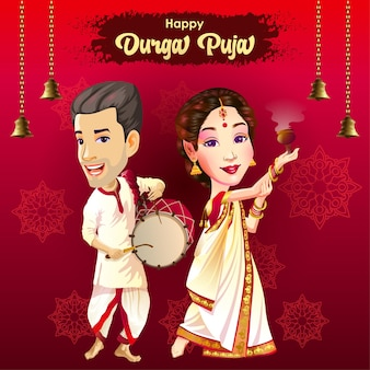Durga puja navratri festival greetings card with dancer and drummer