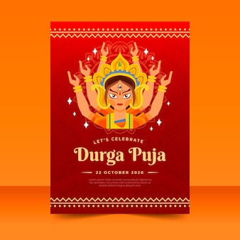 Durga-puja poster with hindu goddess