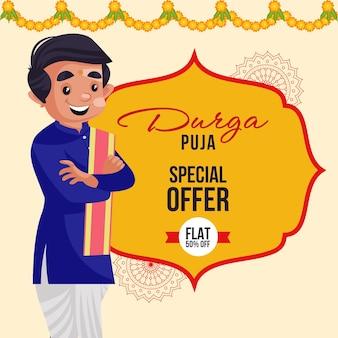 Durga puja special offer indian festival banner design template