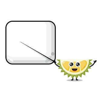 Durian becomes a teacher cute character mascot