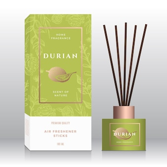 Durian home fragrance sticks abstract vector label box template hand drawn sketch flowers leaves bac...