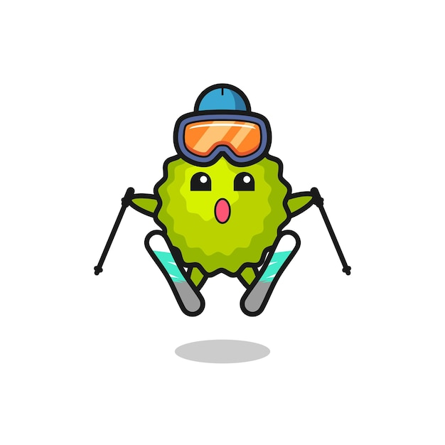 Durian mascot character as a ski player , cute style design for t shirt, sticker, logo element
