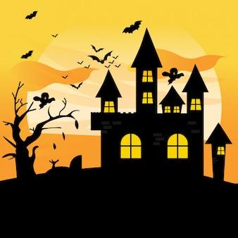 Dusk at a hounted house halloween
