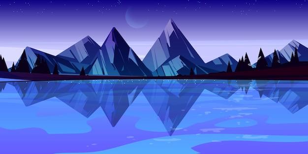 夕暮れの山湖の風景風景、夜の池