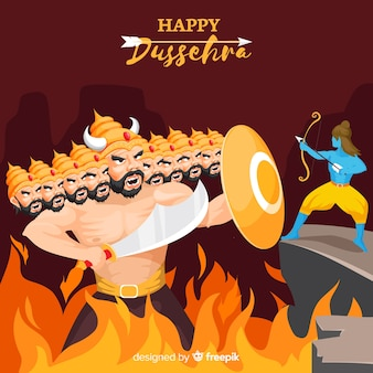 Dussehra background hand drawn style