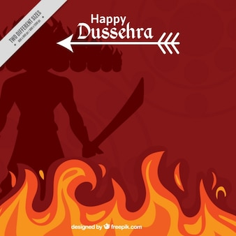 Dussehra background with fire and silhouette of ravana