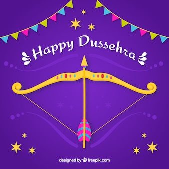 Dussehra celebration composition with flat design