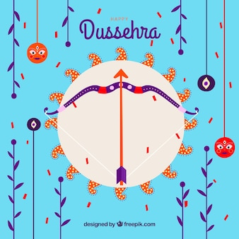 Dussehra composition with flat design