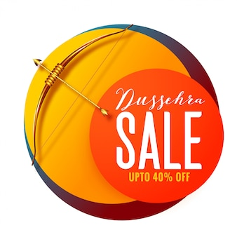 Dussehra festival sale banner with golden bow and arrow