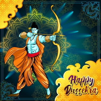 Dussehra greetings with ram aiming with bow and arrow