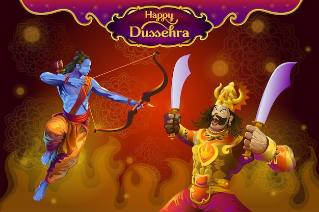 Dussehra greetings with rama and ravana