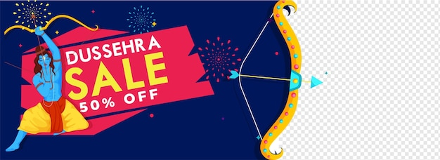 Dussehra sale header or banner discount offer and lord rama character on blue fireworks and png background.