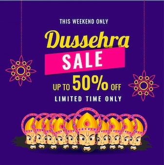 Dussehra sale poster or banner design.