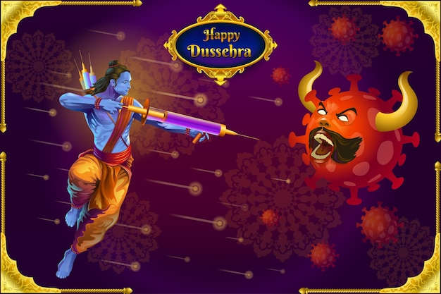 Dussehra scene with rama attacking virus with vaccine