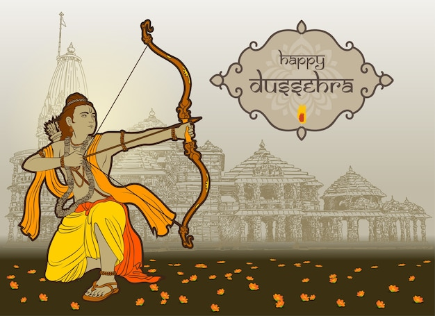 Dussehra wishes with rama and temple background