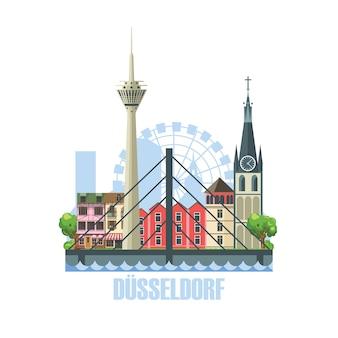 デュッセルドルフ市のスカイライン。古代の建築物のある街の風景
