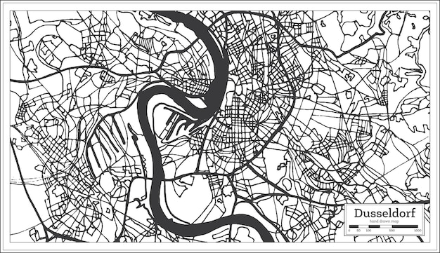Карта города дюссельдорф германия в стиле ретро. контурная карта. векторные иллюстрации.