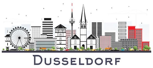 Горизонты города германия дюссельдорф с цветными зданиями, изолированные на белом векторные иллюстрации
