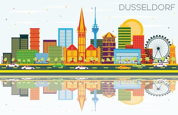 Горизонт дюссельдорфа с цветными зданиями, голубым небом и отражениями. векторные иллюстрации. деловые поездки и концепция туризма с исторической архитектурой. дюссельдорф, германия - городской пейзаж с достопримечательностями.