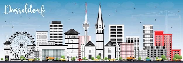 Горизонт дюссельдорфа с серыми зданиями и голубым небом. векторные иллюстрации. деловые поездки и концепция туризма с исторической архитектурой. изображение для презентационного баннера и веб-сайта.