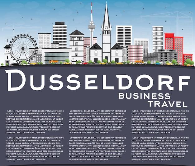 Горизонт дюссельдорфа с серыми зданиями голубое небо и копией пространства векторные иллюстрации