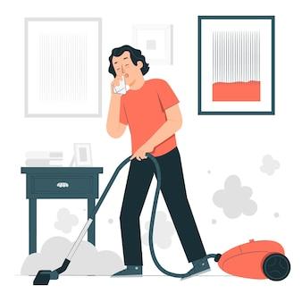 Иллюстрация концепции аллергии на пыль