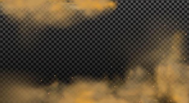 먼지, 담배 연기, 스모그, 흙, 모래 입자가 있는 먼지 구름.