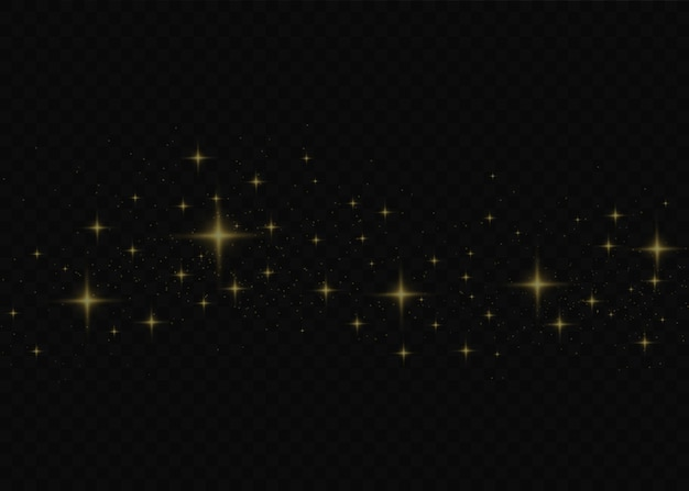 The dust is yellow. yellow sparks and golden stars shine with special light.  sparkles on a transparent background. christmas light effect. sparkling magical dust particles.