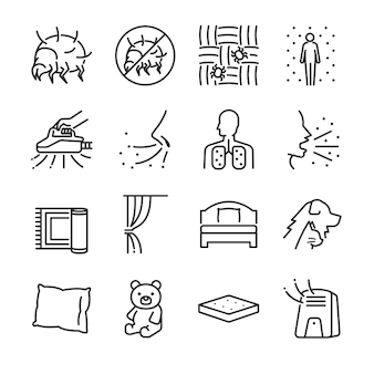 Dust mites line icon set.