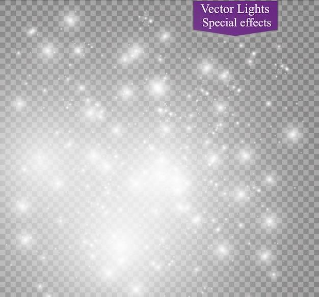 Пыль на прозрачном фоне. яркие звезды. световой эффект свечения.