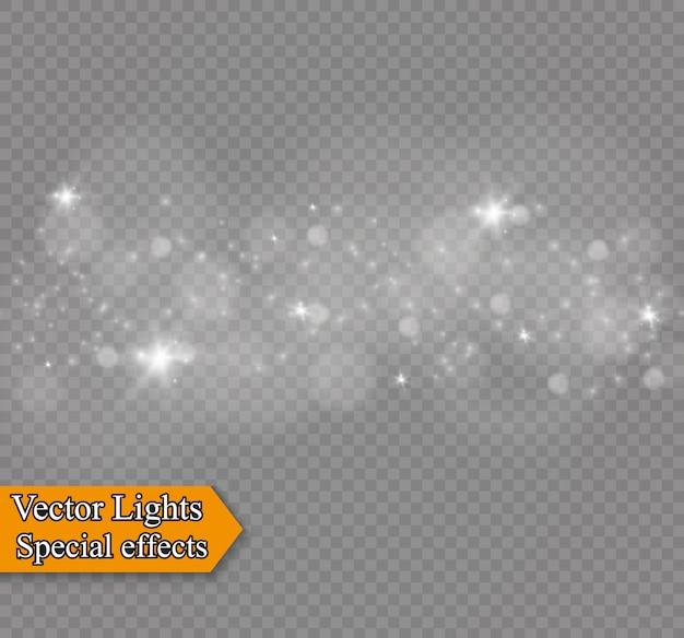 透明な背景にほこり。明るい星。グロー照明効果。