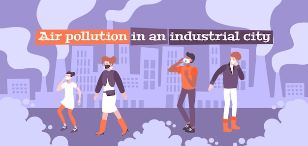 편집 가능한 텍스트가있는 먼지 보호 대기 오염 평면 구성 및 호흡 마스크의 인간 캐릭터 낙서