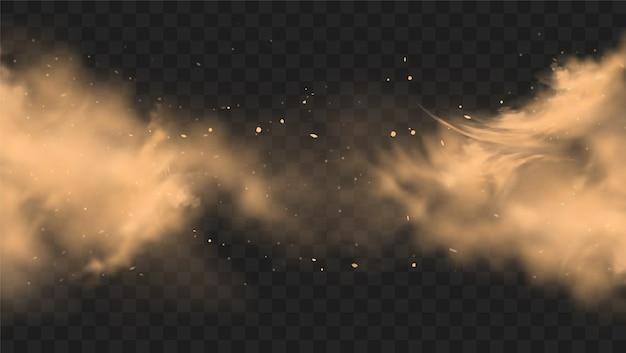 Облако пыли песка с фоном камней