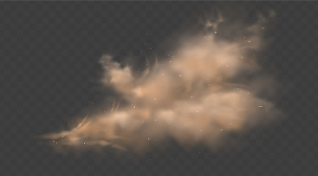 Dust sand cloud with stones and flying dusty particles isolated