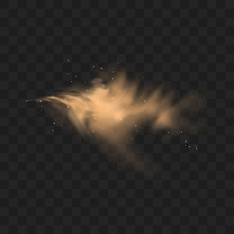 Dust sand cloud with stones and flying dusty particles  on transparent background.