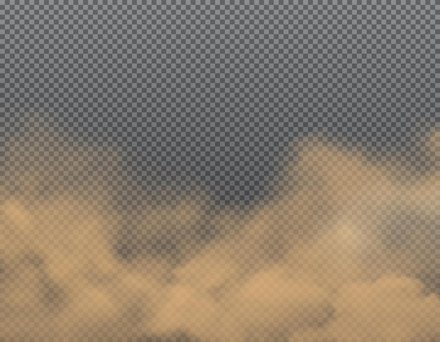 Dust, sand or dirt clouds on transparent background