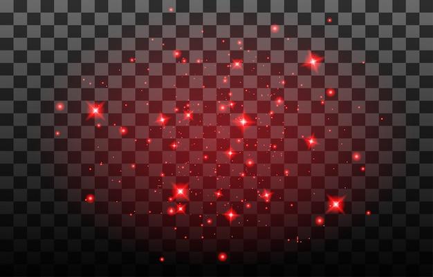 Пыль искрится на прозрачном фоне. рождественский абстрактный узор. сверкающие магические частицы пыли.