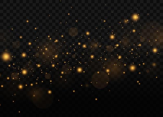 특별한 빛으로 먼지 불꽃과 황금 별