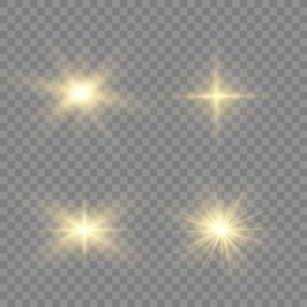 The dust sparks and golden stars shine with special light.  sparkles on a transparent background. christmas light effect. sparkling magical dust particles interior